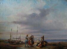 2009* huile sur toile marine pêcheur vendeur poisson signé casati 19eme siecle