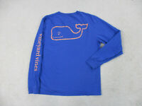 Vineyard Vines Shirt Adult Medium Blue Orange Long Sleeve Whale Mens A98*