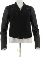 View Walter Baker Zip Frnt Jacket Faux Leather Quilted Slv Black 20W NEW A263071