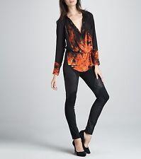 Haute Hippie Flame-Print Long Sleeve Silk Blouse (S)