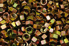 (100) 9/16-12 Grade 8 Hex Finish Nuts - Yellow Zinc Plated - Coarse Thread