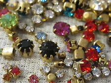 50 Round Crystal Lot Vtg Jewelry All Swarovski Single Rhinestones In Settings