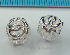 5x STERLING SILVER EUROPEAN HEART ROUND TUBE BRACELET CHARM SPACER  BEAD #1491A