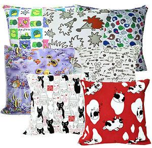Kids Drawing Cartoon Print Cotton Canvas Cushion Cover/Pillow Case*Custom Size