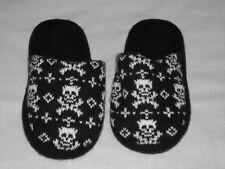 Skull Crossbones Black White slippers Girls Abby NCIS Bedroom Shoes slides 10 11