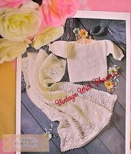 Vintage Knitting Pattern Baby's 'Tulip' Top & Matching Blanket FREE UK P&P