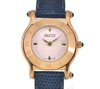 GUCCI 6500L Gold Plated/Leather Silver Dial Quartz Ladies Watch H#103075