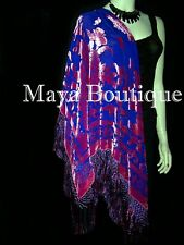Piano Shawl Wrap Scarf Silk Burnout Velvet Pink on Blue Maya Boutique