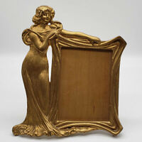 VINTAGE ART NOUVEAU SOLID BRASS LADY WOMAN PICTURE FRAME