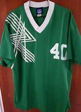 UMBRO logo green UK soccer lrg FC futbol V-neck jersey #40 beat-up shirt England