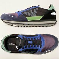 Armani Logo Fashion Sneakers Sport Tennis Shoes Blue Lime Black X4X215 Casual