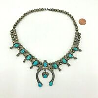 Antique Haley Navajo Sterling Silver Squash Blossom Necklace 12 Turquoise