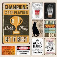 Vintage Tin Metal Sign Coffee Bar Wall Decor Beer Warning Saying Plaque Cat