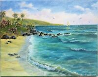 "Art11""/14""Divers cove,California.oil painting, Laguna Beach, Seascape,ocean"