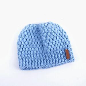 Winter Ponytail Beanie Hat Soft Stretch High Messy Knit Womens Warm Winter