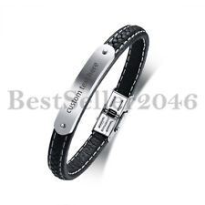 """Personalized Mens Black Leather Bangle Stainless Steel Wristband Bracelet 8.3"""""""