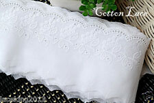 """14Yds Broderie Anglaise cotton eyelet lace trim 3.1""""(8cm) White YH889 laceking"""