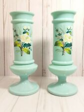 """2 Antique Blue Bristol Glass Vase's Hand Painted Lilly Flowers 10""""&1/2 Tall"""