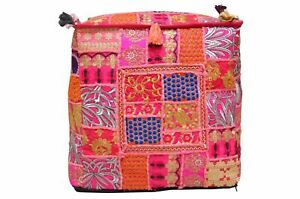"""Indian Square Patchwork 18X18"""" Stool Pillow Cover Ottoman Pouf Moroccan Seat Art"""