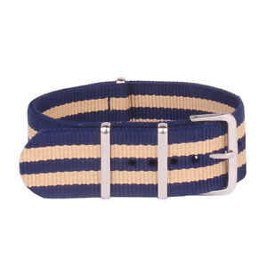 Navy Beige Stripe Watchband Nylon 18mm 20mm 22mm  Watch Straps Wristwatch Band