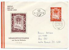 Austria 1956 First Day Cover Stamp Day #B297 B291 Semi-post to Usa