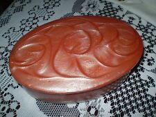 VINTAGE OLD CATALIN JEWELRY  BOX OVAL  Pink