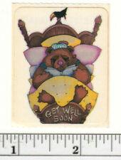 Small Vintage Acard Stickermania Teddy Bear in Bed Glossy Sticker