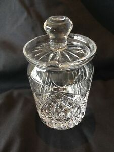"""Tyrone Crystal vintage 5"""" preserve/honey/jam jar with lid - excellent condition"""