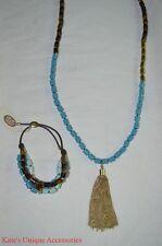 Fossil Brand Gold Tortoise Turquoise Beaded Tassel Necklace & Bracelet Set NEW