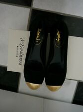 NIB 100% AUTH Yves Saint Laurent Black Suede 'Evalyn' Metal Cap Toe Flats 37.5