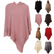 Women Winter Warm Knitted Hooded Cloak Poncho Pullover Tassel Coat Fashion