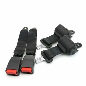 2X 2 Point Harness Safety Seat Belt Buckle Clip Black Retractable Fit Mitsubishi