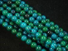 Gemstone Beads Azurite Chrysocolla 8mm Round Beads 35cm Strand FREE POSTAGE