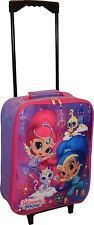"""Shimmer and Shine Girls 15"""" Collapsible Wheeled Pilot Case Luggage Nickelodeon"""
