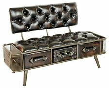 Febland Steam Punk Style PU Bench with Drawers, Metal Brown H76 x W120 x D50cm