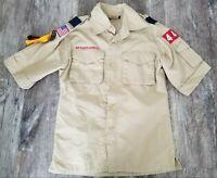 BOY SCOUTS Of AMERICA Khaki Uniform Trooper SHIRT Sz Youth Medium BSA