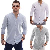Jack & Jones Herren Serafino Hemd Langarmhemd Stehkragen Businesshemd Herrenhemd