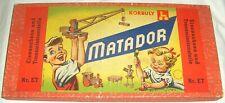 Matador ET Korbuly Baukasten fast wie NEU, 1960er Jahre kompletter Holzbaukasten