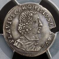 1665, Papal States, Avignon, Alexander VII. Silver Luigino Coin. R! PCGS AU-50!