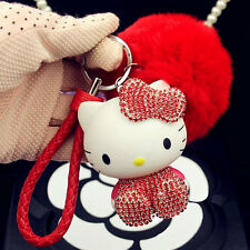 Cute Keychain Crystal HelloKitty Phone Strap Soft Fluffy Ball Red Bag Decoration