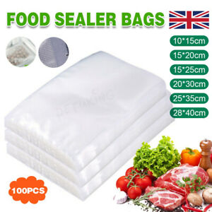 100/200X Vacuum Sealer Bags Food Saver Vac Seal Storage Bag Pack Textured Fresh