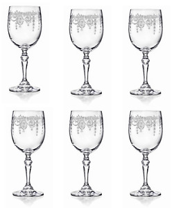 Set of 6 Etched Wine Glasses Decorated Boxed Gift Drinking Glassware