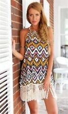 Ladies Dress Boho Tassel Geometric Print Halter Sz 2xl Stretch Affordable++