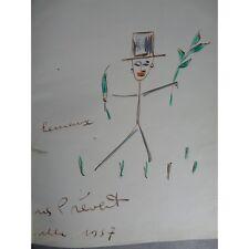 Jacques Prévert Images Grand envoi double page de Prévert enrichi d'un dessin en