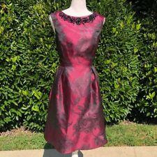 NWOT Eliza J red black beaded Sleeveless jacquard floral dress Size 4