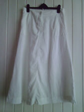 LADIES EXCELLENT LONG WHITE A-LINE LINEN SUMMER SKIRT BY M&S - SIZE 10