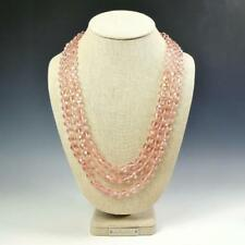 "Sparkling Faceted Light Pink Crystals Bead Knotted 72"" Long Strand Wrap Necklace"