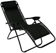 Reclining Garden Chair Camping Zero Gravity Sun Lounger Recliner Relaxer (Black)
