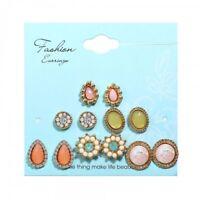 Charm 6Pcs/Set Boho Stud Cubic Zirconia Water Drop Earrings Statement Jewelry
