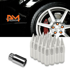 M12X1.5 Silver JDM Hex Spiked Cap Wheel Lug Nuts+Extension 20mmx90mm Tall 20Pc